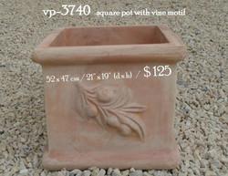 vp-3740   square pot with vine motif