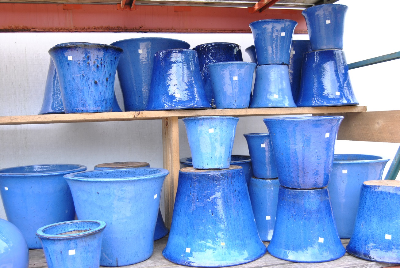 flared blue pots