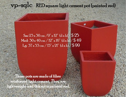 vp-sqlc   RED square light cement pot