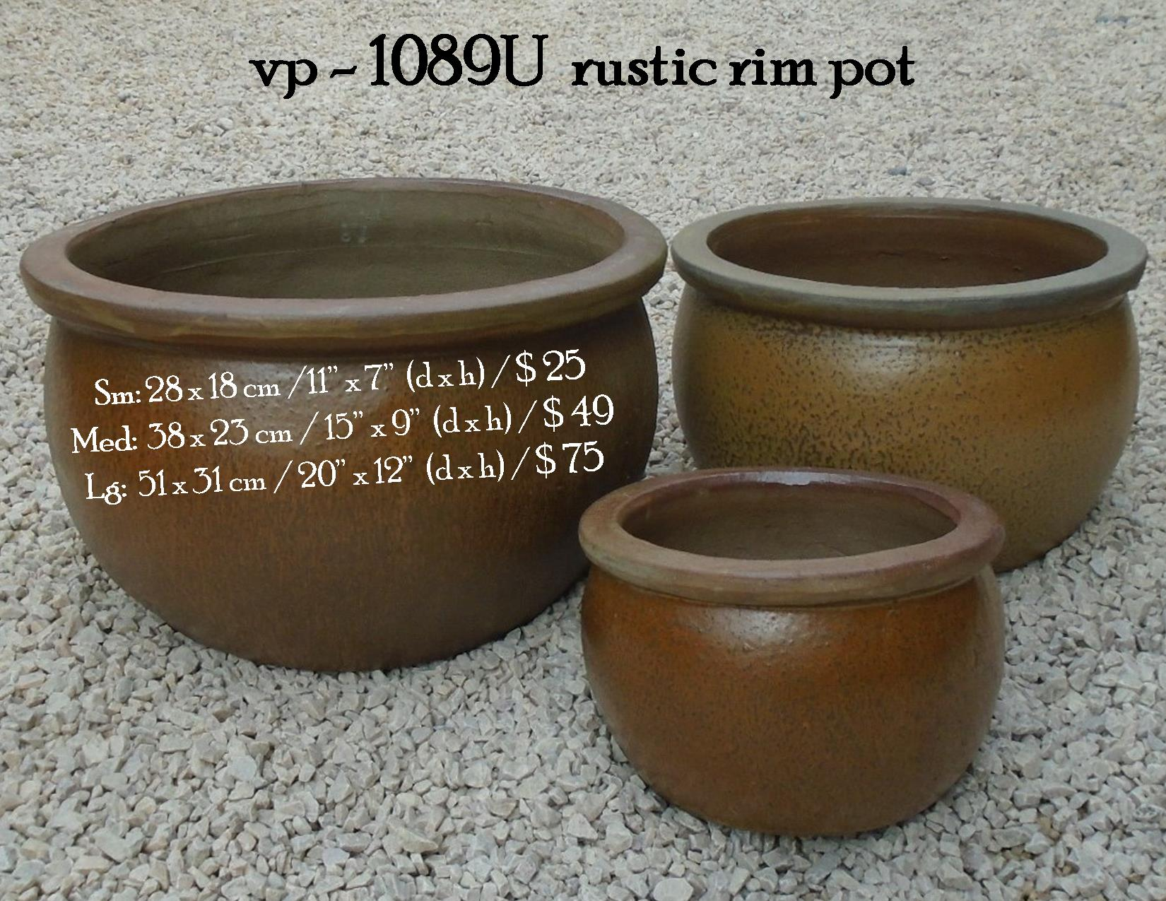 vp - 1089U  rustic rim pot