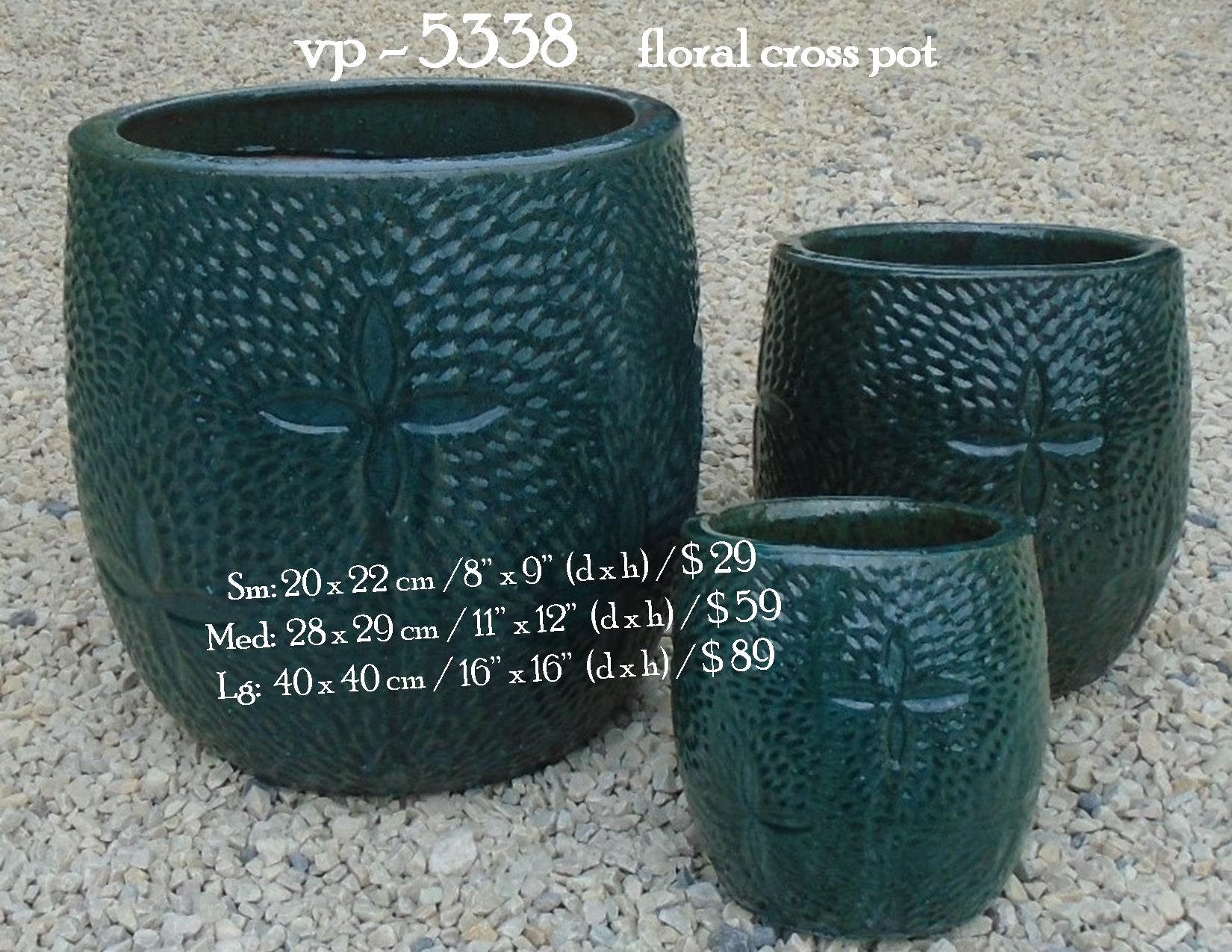 vp - 5338     floral cross pot