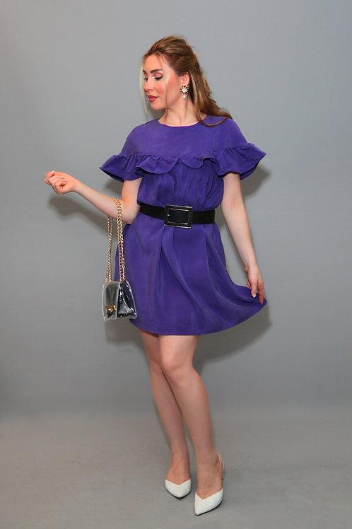 1008 Elbise Kısa Fırfırlı-Mor