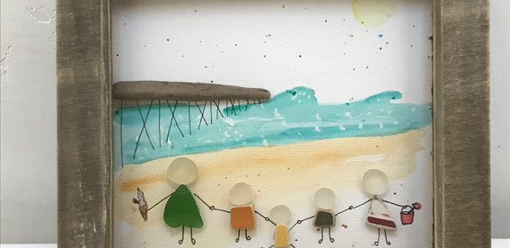 family picture, sea glass commissioned art