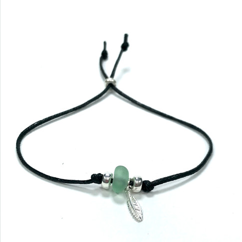sea glass cord bracelet with sterling silver stopper