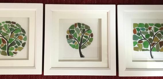 sea glass tree art set of three