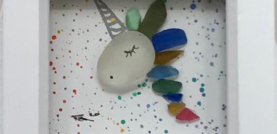 sea glass unicorn, seaham, rare colours, art