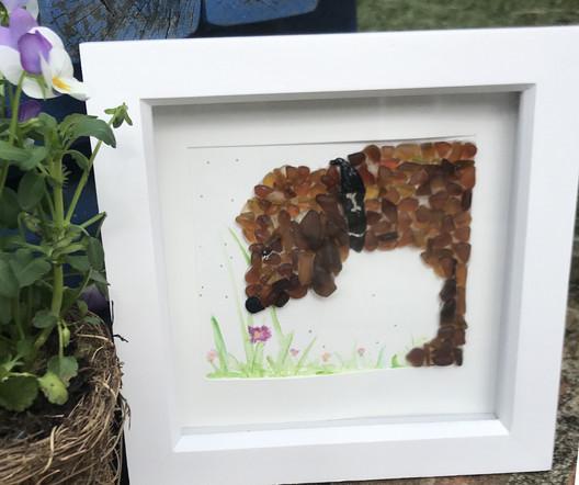 sea glass art framed dog