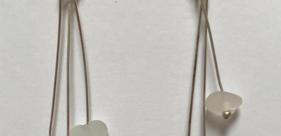 sterling silver sea glass drop earrings