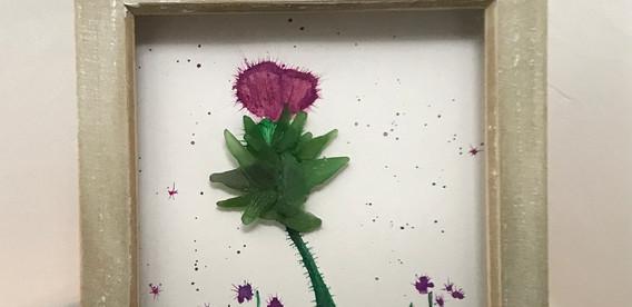 sea glass scottish thistle art