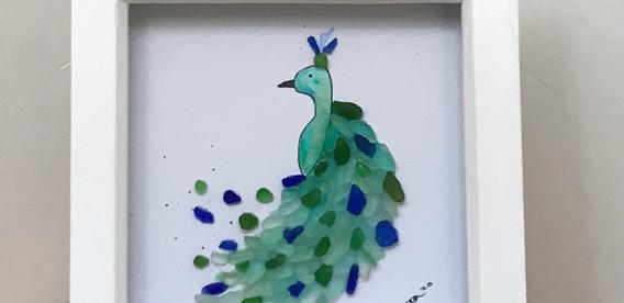 Sea glass art, peacock