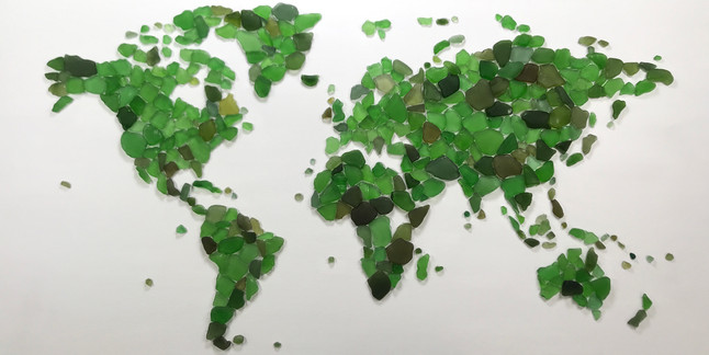 map of the world on canvas made with seaglass