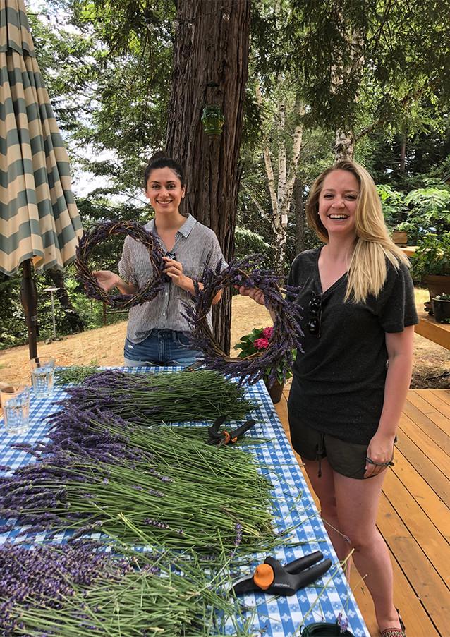 Aja and Tashia making lavender wreaths