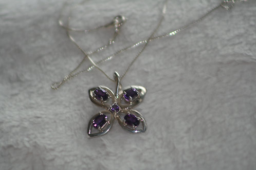 Handmade solid silver/amethyst necklace