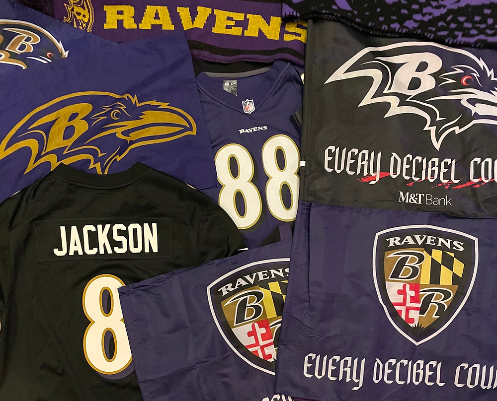 A display of Ravens fan items, including a Lamar Jackson jersey