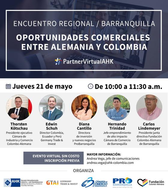 """Encuentros regionales AHK Barranquilla: """"Oportunidades comerciales entre Alemania y Colombia&qu"""