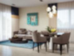3d визуализация кухни-гостиной, современный интерьер, 3d изображение интерьера