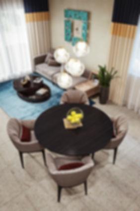 Вид сверху на кухню и гостиную, перспективный вид интерьера, визуалиция дизайна интерьера