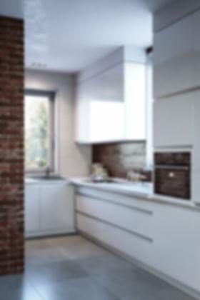 Визуализация интерьера кухни, кухня-гостиная, визуализация студии, современная кухня