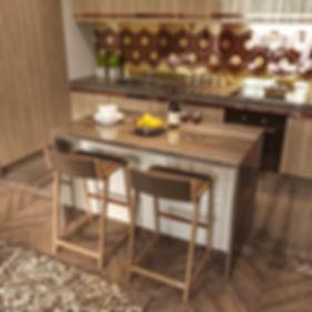 дерево в интерьере, кухня из натуральных материалов, латунь в интерьере