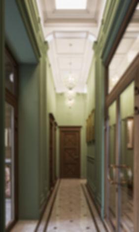 Коридор в классике, визуализация коридора ЖК, визуализация интерьера в классике