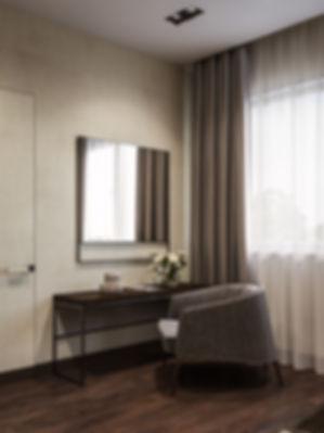 Художественный рендер изображений, фрагмент интерьера спальни, визуализация фрагмента спальни
