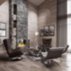 высокие потолки, кресла у камина, хром в дизайне