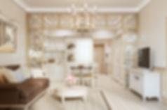 3d визуализация кухни-гостиной, визуализация прованса, проект квартиры в стиле прованс