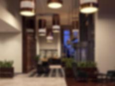 Вечерняя визуализация вестибюля, интерьеры ЖК вечером, вечерние рендеры