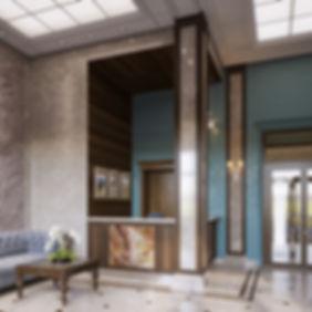 3d визуализация вестибюля, вестибюль ЖК в класссике, классический стиль в интерьере