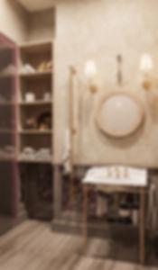 Санузел, мазаика, мрамор, круглое зеркало
