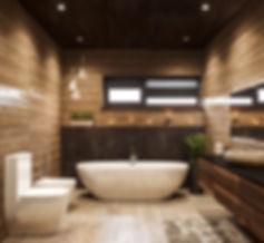 ванная, шале, визуализация, камень в интерьере