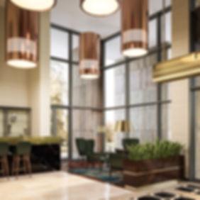 Визуализация зон отдыха вестибюля, визуализация мини-бара вестибюле, общественный интерьер