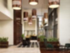 Перспектива вестибюля жилого комплекса, общий вид общественного вестибюля, визуализация вестибюля