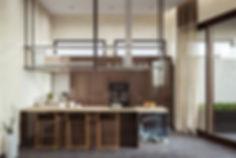 Минимализм в интерьере кухни, барная стояка, открытая кухня