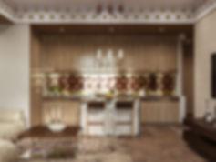Фартук из меди, визуализация кухни, 3D кухня