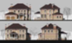рендер фасадов, фасады в 3D max, фасады коттеджа