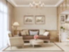 Визуализация гостиной, интерьер гостиной, гостиная в провансе