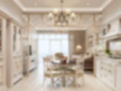 Визуализация квартиры в стиле прованс, прованс в интерьере, столовая в стиле прованс
