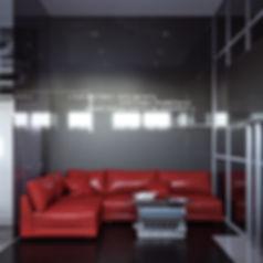 Визуализация зоны отдыха в офисе