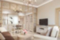 Гостиная в стиле прованс, визуализация кухни-гостиной, интерьер квартиры в провансе