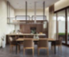 Визуализация столовой в коричневых тонах, глянцевые фасады кухни