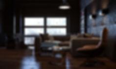 СТО на два этаж, ракурс комнаты с лестницей