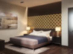 Визуализация спальни, дизайн спальни, современная спальня