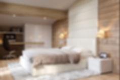 совреенная спальня, ковер шегги