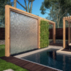Водопад у бассейна, бассейн с перголами, красивый бассейн дома
