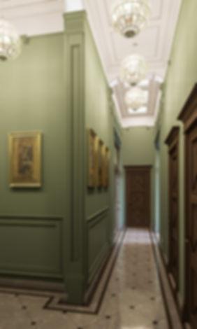 Коридор в стиле классика, 3d визуализация коридора, рендер коммерческий