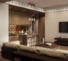 Современная кухня, минимализм в интерьере, коричневый цвет в интерьере