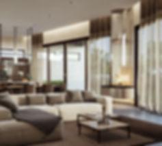 интерьер современной гостиной, коричневый цвет в интерьере, камин, открытая гостиная