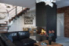 Интерьер с камином, визуализация интерьера гостиной, кухня-гостиная в Кракове