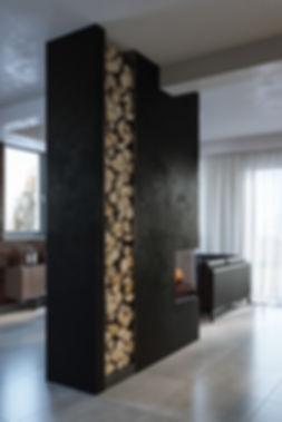 Фрагмент интерьера гостиной, визуализация камина, визуализация современной гостиной